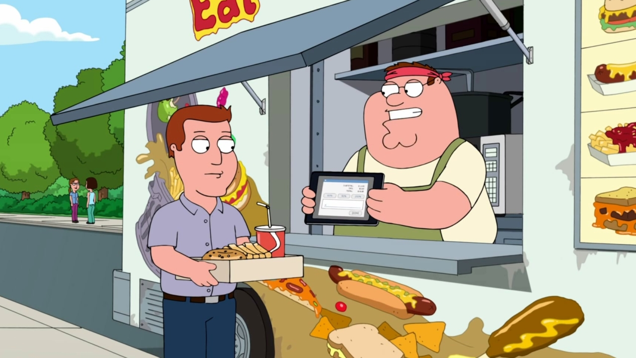 Family Guy: Peter Serves A Customer At His Food Truck