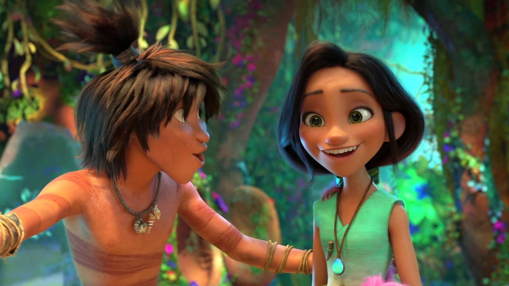 The Croods: A New Age: Guy, Belt, And Eep Meet Dawn And Sash
