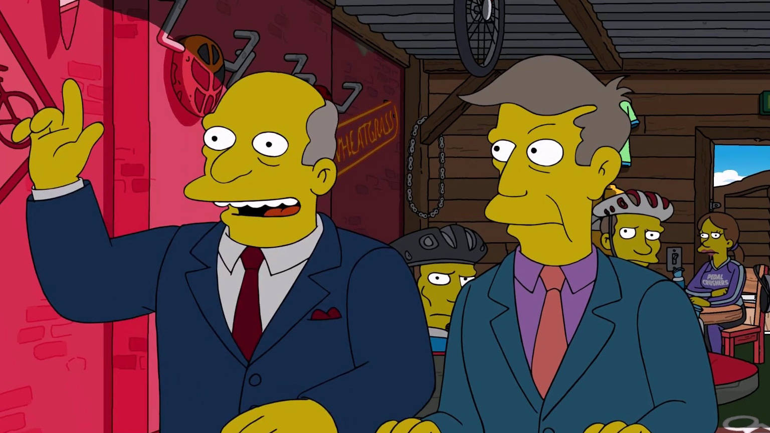 The Simpsons: Chalmers & Skinner Find A Biker Bar